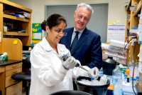 Dr. Dario Altieri in his lab with Dr. Ekta Agarwal conducting an experiment