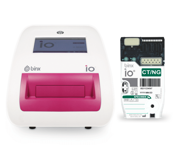 The binx io platform is a rapid, qualitative, fully-automated test, designed to be easy to use, and intended for use in POC or clinical laboratory settings, providing the world's first sample-to-answer result in about 30 minutes for the detection of chlamydia (CT) and gonorrhea (NG