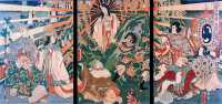 Amaterasu emerging from the cave, Ama-no-Iwato, to which she once retreated (painted by Kunisada)- Wikipedia image.jpg