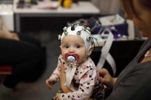 Babies' brain responses were studied in the EEG laboratory of the Department of Psychology at the University of Jyväskylä, Finland. Photograph Petteri Kivimäki.